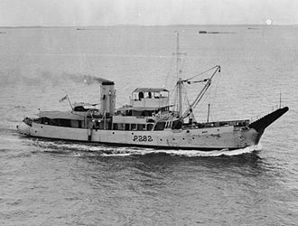 Bar-class boom defence vessel - HMS Barfoam at Singapore, early in World War II