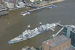 HMS Belfast seen from The View from The Shard, Shard London Bridge, UK - 20130630.JPG