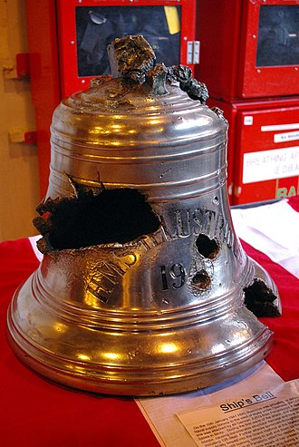 HMS Illustrious (87) - Her ship's bell that was damaged during the January 1941 attacks