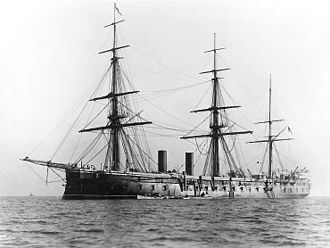 HMS Northumberland (1866) - Northumberland in three-masted configuration, 1890