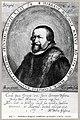 HUA-105623-Portret van Hibbaeus Magnus geboren 1574 predikant van de Lutherse gemeente te Utrecht 1613 1618 overleden 1638 Borstbeeld links in ovaal.jpg