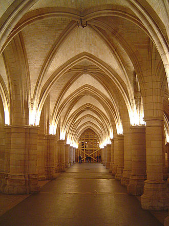 Conciergerie - The Hall of the Guards, one of the largest surviving medieval parts of the Conciergerie.