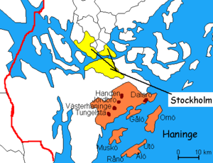 Haninge Municipality - Towns in Haninge Municipality within the border of Stockholm County and the location of Stockholm.