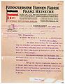Hannoversche Fahnen-Fabrik Franz Reinecke Heinrichstraße 14 Rechnung 4. März 1913 Kriegerverein W Brakmann Buddestorf Vorderseite.jpg