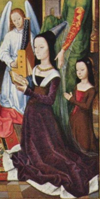Sir John Donne - The Donne Triptych by Hans Memling, 1470s, National Gallery, London.  Lady Donne and a daughter