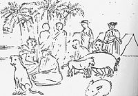 Hawaiian natives wearing kihei, with animals, sketch by Louis Choris.jpg