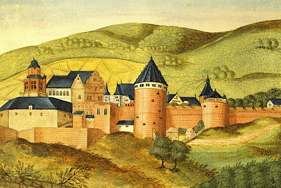 Heidelberger Schloss im 16 Jh aus Thesaurus Pictuarum