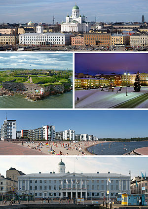 From top-left: Helsinki Cathedral, Suomenlinna, Senate Square, Aurinkolahti beach, City Hall