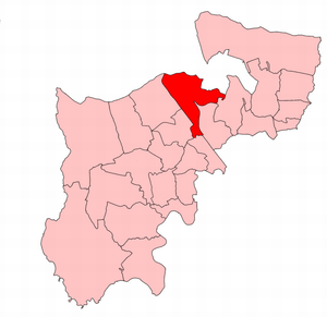 Hendon North (UK Parliament constituency) - Hendon North constituency within the parliamentary county of Middlesex, showing boundaries used from 1945 to 1974