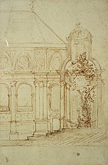 Cross-sectional design for the main altar of St. Andrew's Church in Antwerp, 1691