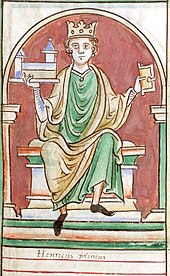 King Henry I of England holding a miniature chapel in one hand and the Domesday Book in another