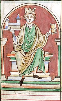 An image of Henry I on a throne at his coronation.