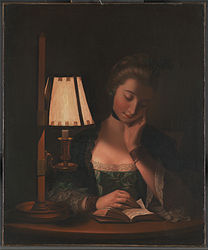 Henry Robert Morland: Woman Reading by a Paper-Bell Shade