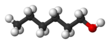 Spacefill formula of 1-hexanol