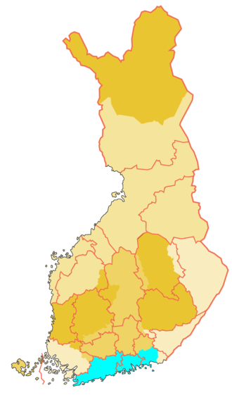 Uusimaa (historical province) - Historical province of Uusimaa (borders of the modern provinces, i.e. regions with pink colour)
