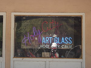 Holy City, California - Holy City Art Glass sign, September 2008
