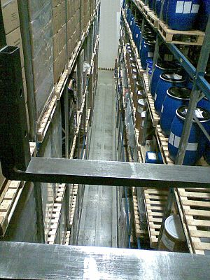 "Pallet racking - ""Very narrow aisle"" pallet racks. Picture taken from a ""man-up"" truck"