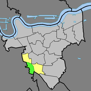 Horn Park - Horn Park (green) within the ward of Middle Park and Sutcliffe (yellow) in the Royal Borough of Greenwich (light grey)