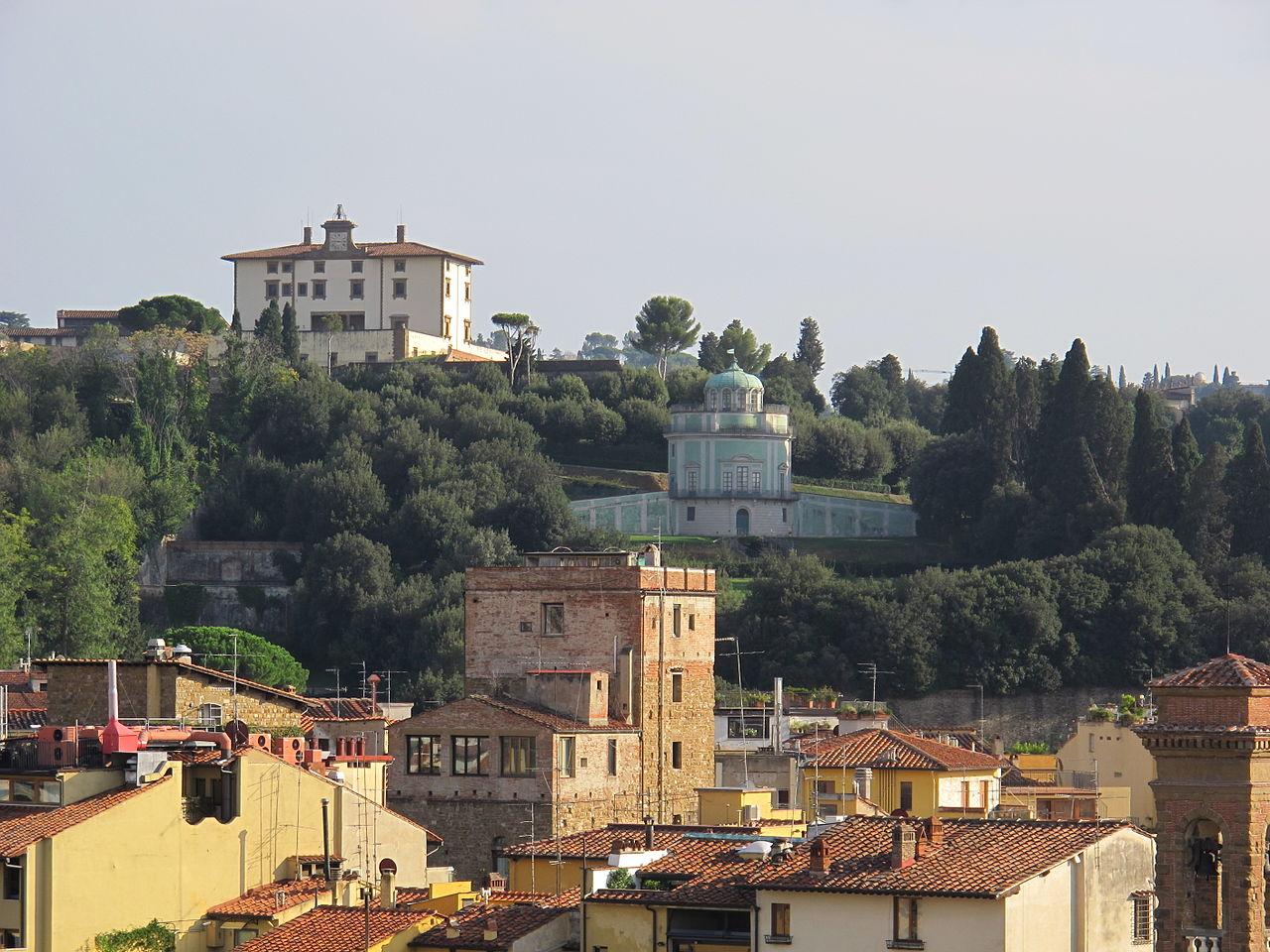Firenze, Giardino del Bobolino, Hotel antica torre tornabuoni, terrazza, veduta della Kaffeehaus del giardino di Boboli  e Forte Belvedere