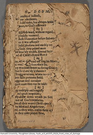 The Day of Doom - A fragmentary copy of the first edition of The Day of Doom, held at Houghton Library, Harvard University