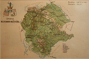 Bjelovar-Križevci County - Old map of Bjelovar-Križevci County