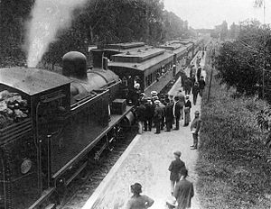 Recoleta, Buenos Aires - The Recoleta train station in 1904. The rail line would be later deactivated and the station demolished.