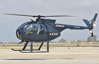 Hughes OH-6 Cayuse - A Spanish naval OH-6M helicopter on lifts off
