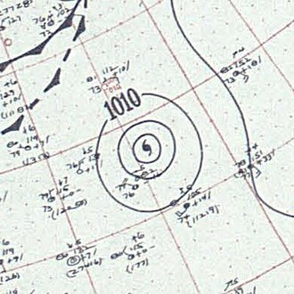 1955 Atlantic hurricane season - Image: Hurricane Edith surface analysis August 28 1955