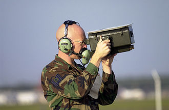Identification friend or foe - An IFF test set used by a United States Air Force avionics technician Technical Sergeant for testing transponders on aircraft