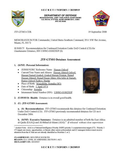 File:ISN 10023, Hassan Guleed's Guantanamo detainee assessment.pdf
