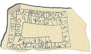 Reproducción de la Estela de Bensafrim, mostrando una inscripción en lo que se cree es la lengua de Tartessos.