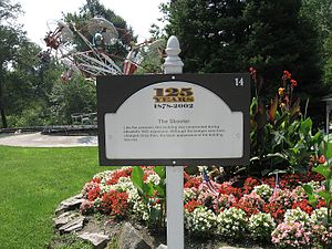 Idlewild and Soak Zone - A sign acknowledging the Skooters' 1931 construction. Several signs similar to this can be found all over the park, put up for the park's 125th anniversary in 2002.