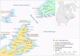 Carte de l'île du Cap-Breton et de ses environs.