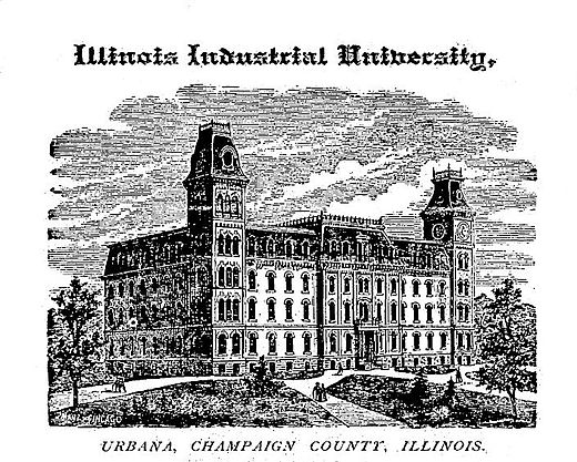The original University Hall, which stood until 1938, when it was replaced by Gregory Hall and the Illini Union. Pieces were used in the erection of Hallene Gateway dedicated in 1998. IllinoisIndustrialUniversity.jpg