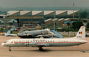 Ilyushin Il-18 - Ilyushin Il-18D of TAROM at Manchester Airport in 1988