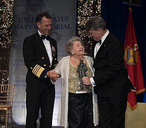 CNO Richardson and Rear Admiral Frank Thorp IV, USN (Ret.), President & CEO of the Navy Memorial, honoring Ima Black and her late husband Delbert D. Black, the first Master Chief Petty Officer of the Navy, at the 2017 Lone Sailor Awards Dinner