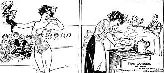 Katie Sandwina - Imaginative sketch by artist-reporter Marguerite Martyn of herself being lifted by Sandwina in front of a circus crowd, left, and a realistic Martyn sketch of Sandwina cooking dinner for her son and husband, right, 1911