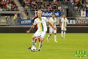 Lex Immers - Immers playing for ADO Den Haag in a UEFA Europa League match in their first ever participant in European football.