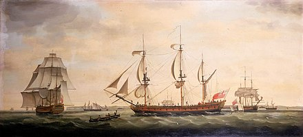 Royal George was one of the five East Indiamen the Spanish fleet captured in 1780 Indiaman Royal George.jpg