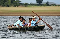 Indian coracles are used on the Kabini River, Karnataka, India