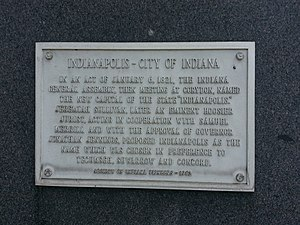 Timeline of Indianapolis - Sign on the Indianapolis City County Building commemorating the founding of Indianapolis.