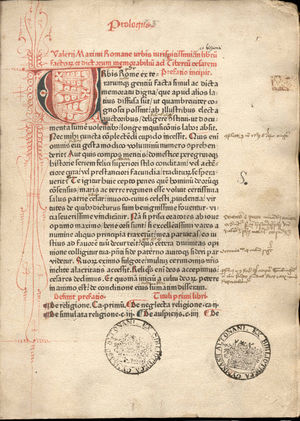 Valerius Maximus - Page from an incunable of Valerius Maximus, Facta et dicta memorabilia, printed in red and black by Peter Schöffer (Mainz, 1471)