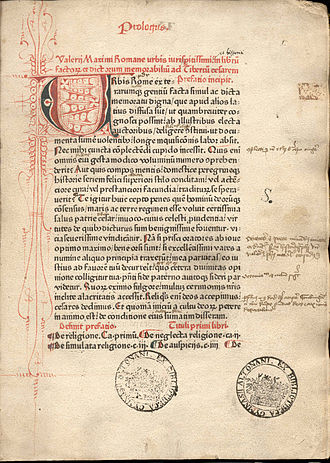 "Incunable - Page from Valerius Maximus, Facta et dicta memorabilia, printed in red and black by Peter Schöffer (Mainz, 1471). The page exhibits a rubricated initial letter ""U"" and decorations, marginalia, and ownership stamps of the ""Bibliotheca Gymnasii Altonani"" (Hamburg)."