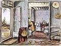 Intérieur du salon, entree et porte avant du manoir de Beauharnois, 1838.jpg