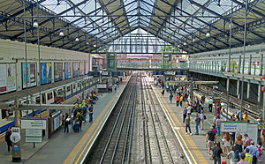 Earl's Court tube station - Overhead view of the District line platforms at Earl's Court