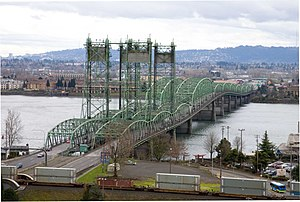 Interstate 5 in Washington - The Interstate Bridge carries I-5 over the Columbia River from Portland to Vancouver.