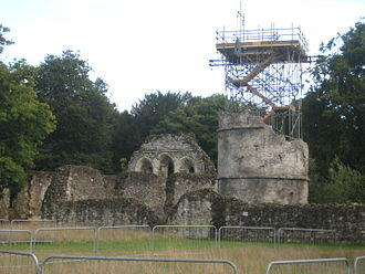 Into the Woods (film) - Rapunzel's tower under construction at Waverley Abbey in Farnham, Surrey.