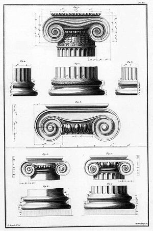 Julien-David Le Roy - Plate of the Ionic order from Les Ruines des plus beaux monuments de la Grèce.
