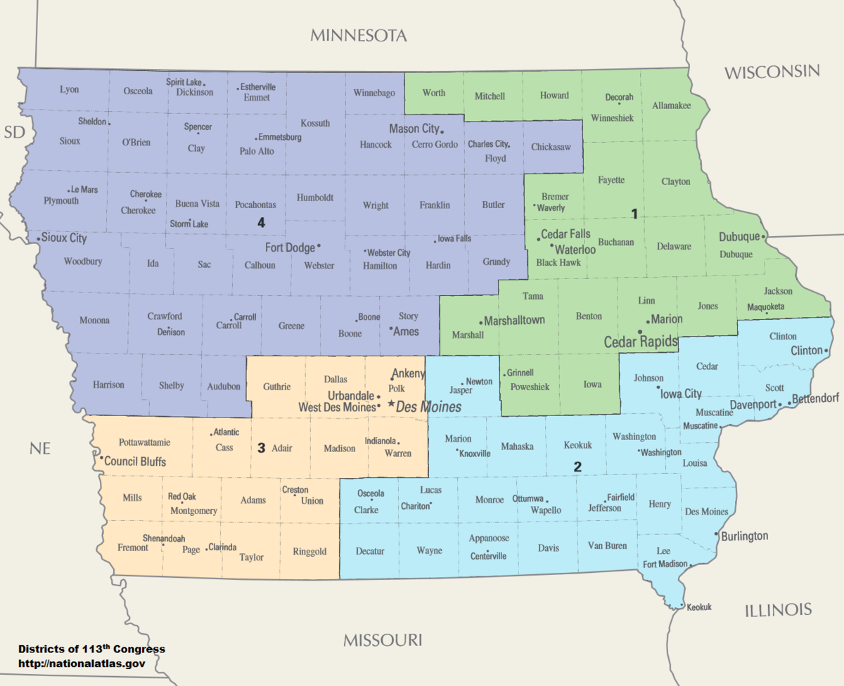 Garner Iowa Map.Iowa S Congressional Districts Wikipedia