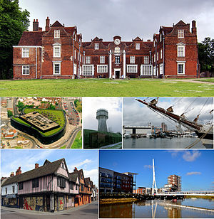 Ipswich - Top down: Christchurch Mansion, Willis Building, water tower, Ipswich Waterfront, Ipswich Town Centre, Sir Bobby Robson Bridge